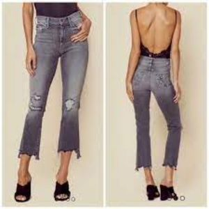 MOTHER The Insider Crop Step Fray Gray Jeans